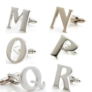 P Silver Initial Cufflink