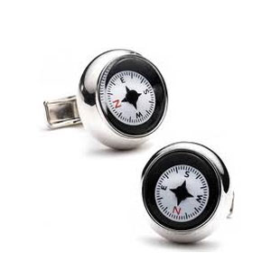 White Compass Cufflinks
