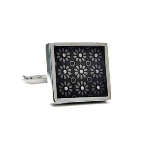 Black Flower Pattern Cufflinks