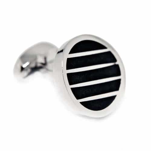 Black Horizontal Stripes Circle Cufflinks