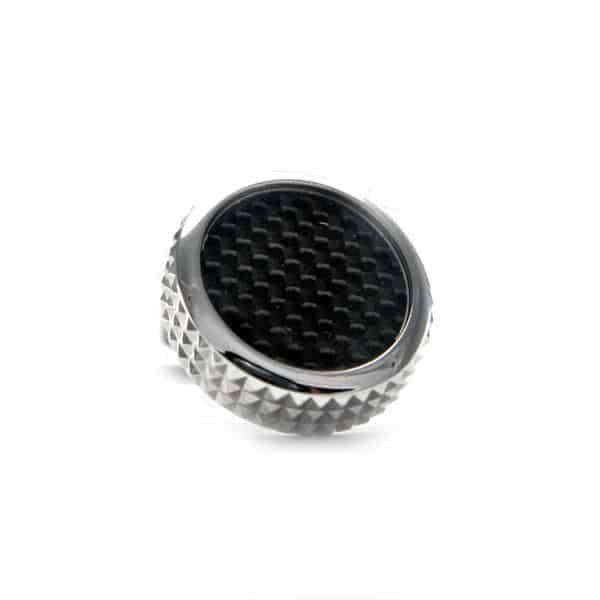 Black Round Carbon Fibre Cufflinks