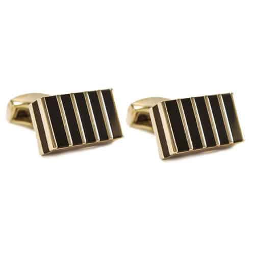 Black Stripes Block Cufflinks