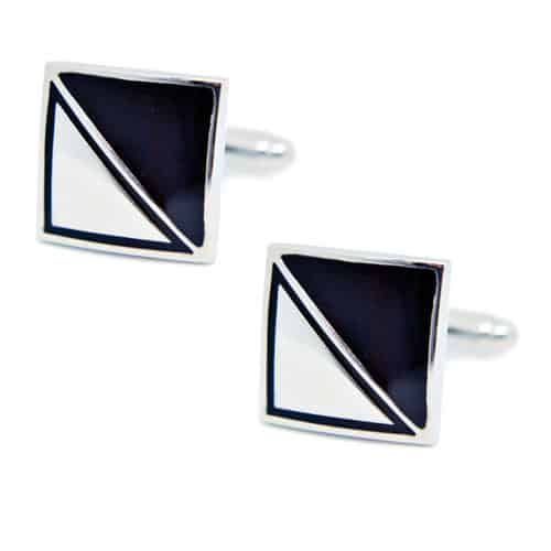Black and Silver Square Cufflinks