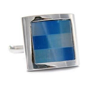 Mother of Pearl - Blue Checked Squares Cufflinks