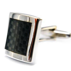 Black Square Carbon Fibre Hologram Cufflinks