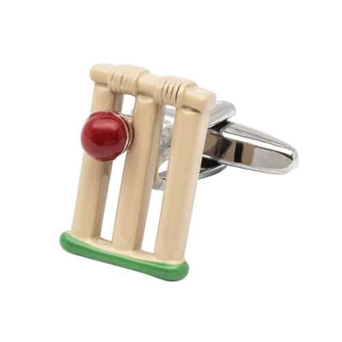Coloured Cricket Stumps and Ball Cufflinks