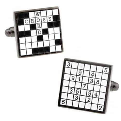 Crossword and Sudoku Cufflinks