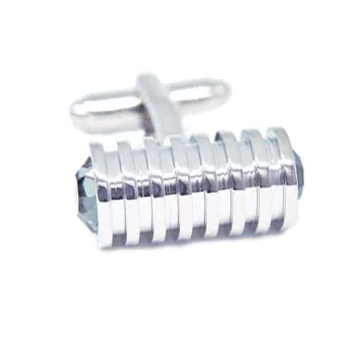 Cylindrical Grey Crystal Cufflinks