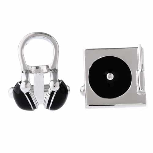 DJ Headset and Turntable Cufflinks