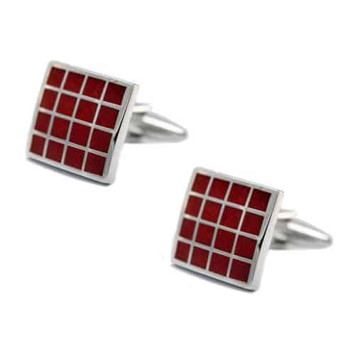 Dark Red Grid Cufflinks