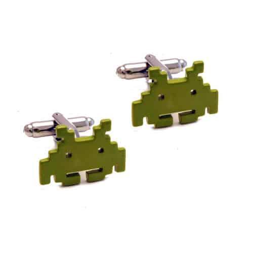 Green Space Invaders Cufflinks