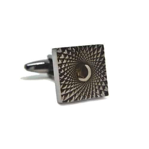 Gunmetal Patterned Square Cufflinks