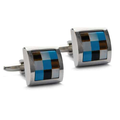 Mother of Pearl - Checked Squares Cufflinks