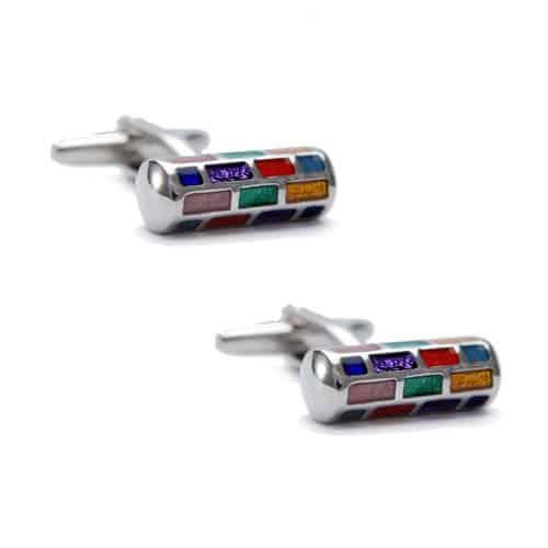 Multicoloured Cylindrical Cufflinks