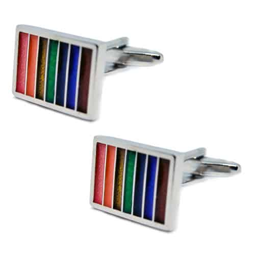 Multicoloured Striped Rainbow Cufflinks