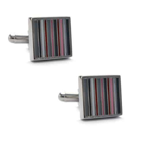 Pink/Grey Stripes Cufflinks