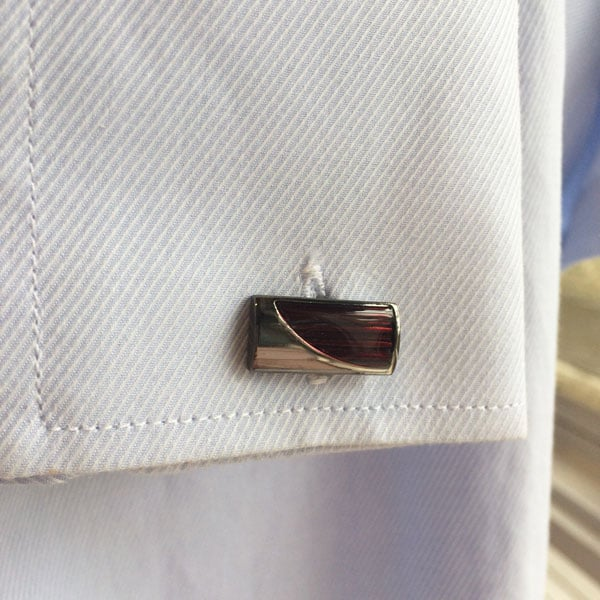 Red Striped Rectangle Cufflinks
