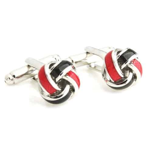 Red/Black Stainless Steel Knot Cufflinks