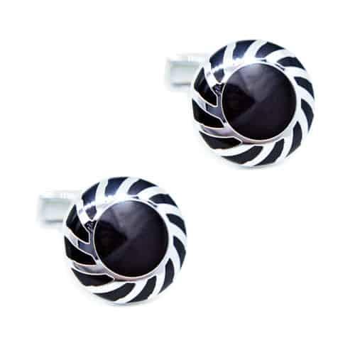 Round Black Patterned Cufflinks