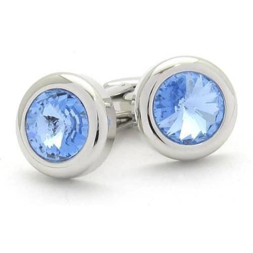 Round Blue Crystal Cufflinks