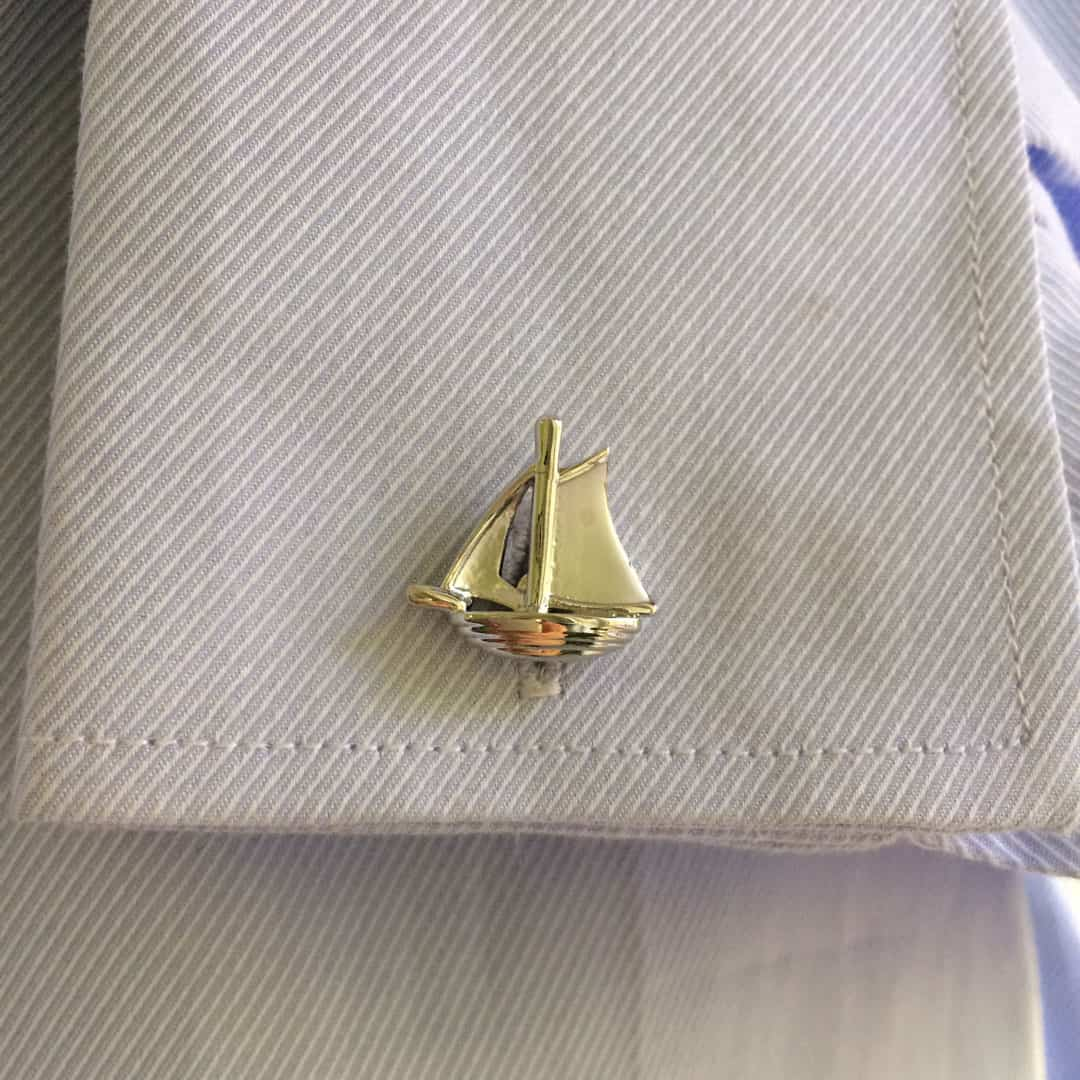 Silver Sail Boat Cufflinks