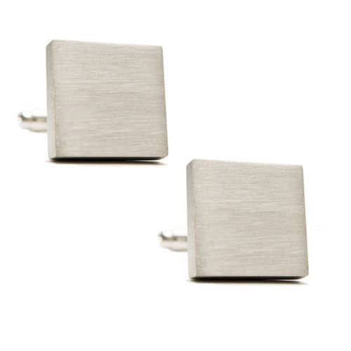 Square Brushed Stainless Steel Cufflinks