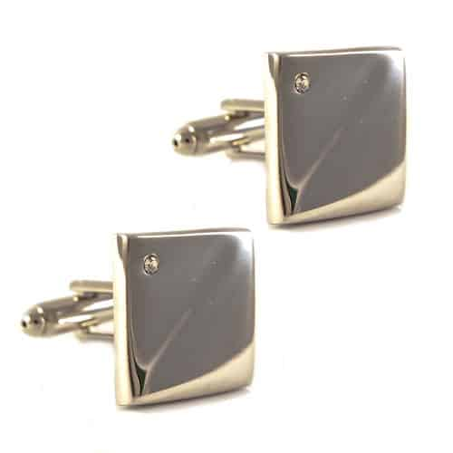 Square Stainless Steel with diamonte Cufflinks