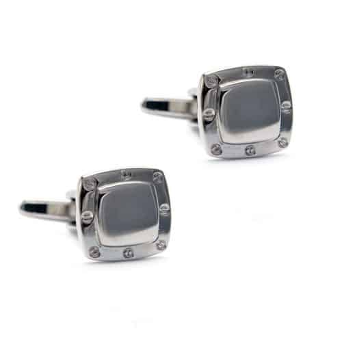 Stainless Steel Square with screw detail Cufflinks
