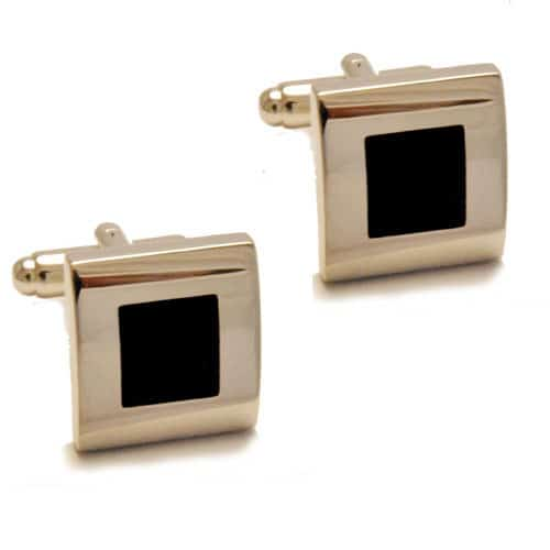 Stainless Steel with black central square cufflinks