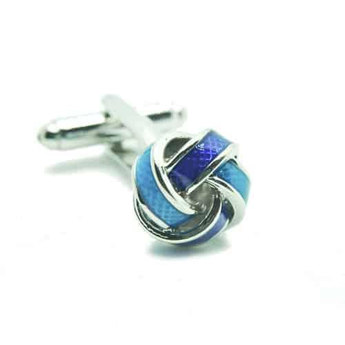 Blue Stainless Steel Knot Cufflinks