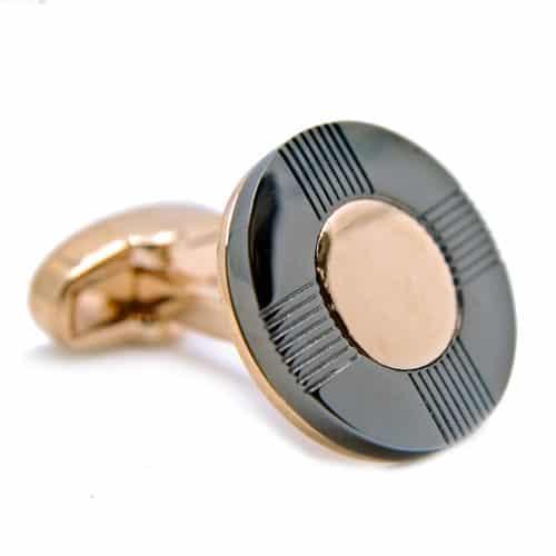 Gold and Gunmetal Round Cufflinks