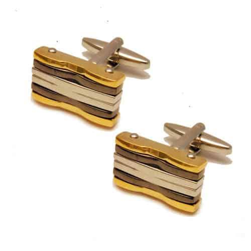 Three Tone Rectangular Cufflinks
