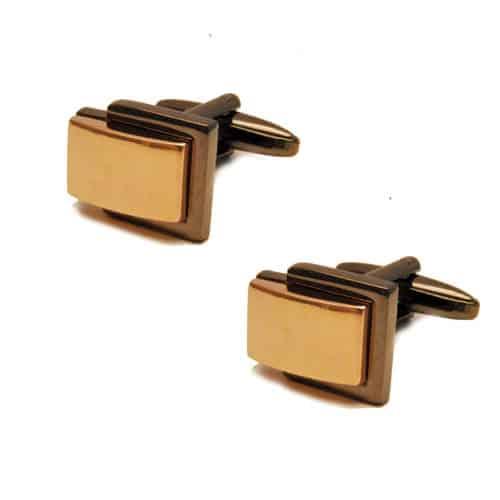 Two Tone Layered Gold Cufflinks