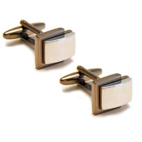 Two Tone Layered Silver Cufflinks
