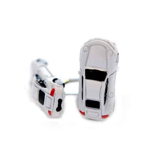 White Sports Car Cufflinks