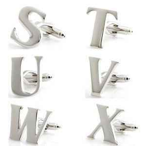 B Silver Initial Cufflink