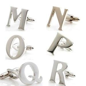 D Silver Initial Cufflink